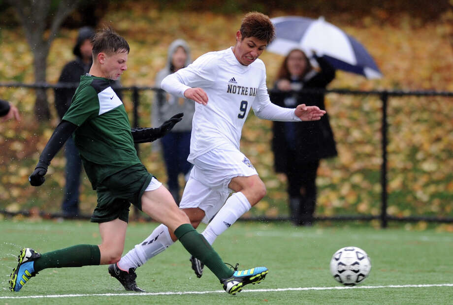 Notre Dame-Fairfield High School and Northwest Catholic, of West Hartford, compete in the first-round Class S boys soccer game Tuesday, Nov. 10, 2015, at Veterans Memorial Park in Bridgeport, Conn. Photo: Autumn Driscoll / Hearst Connecticut Media / Connecticut Post
