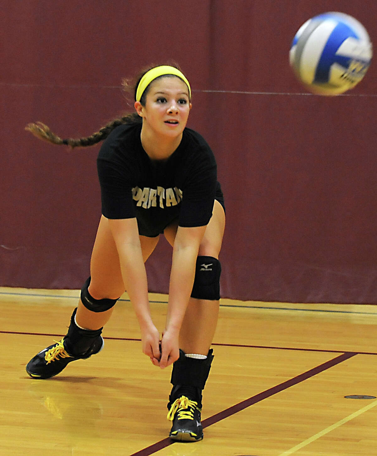 Burnt Hill's Natalie Schurman hits the ball as she practices with her volleyball team for an upcoming regional final on Tuesday, Nov. 10, 2015 in Burnt Hills, N.Y. (Lori Van Buren / Times Union)