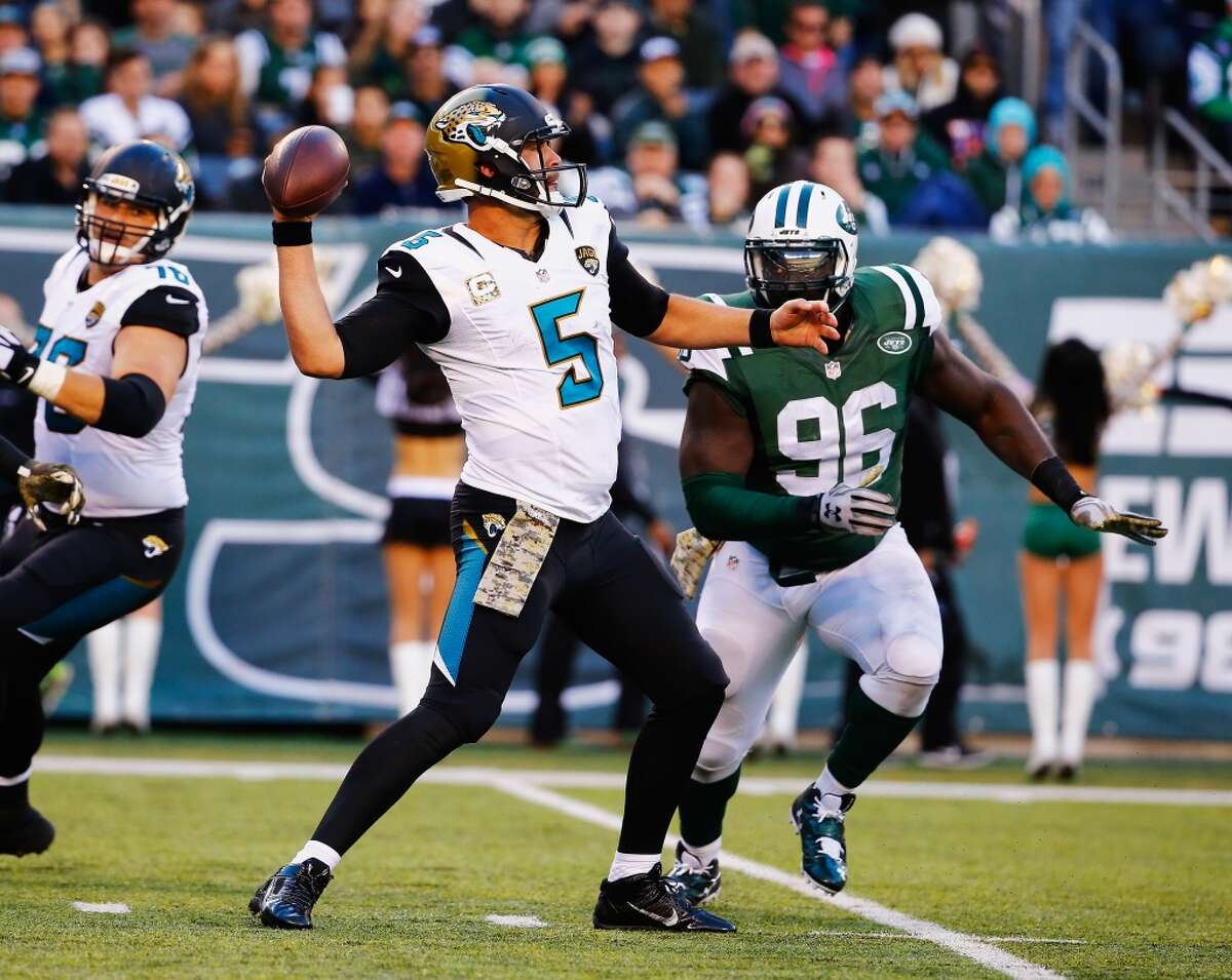 31. Jacksonville (2-6) Last week: 29 In his second season, quarterback Blake Bortles is on a pace to throw for 34 touchdowns and 20 interceptions.