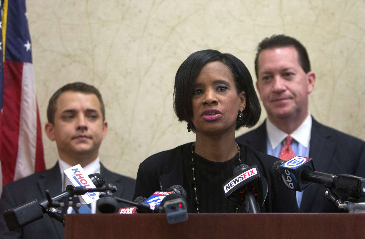 Madeline Kirksey speaks during a news conference, Tuesday, Nov. 10, 2015, in Houston. Kirksey claims she was fired from a Katy area day care center because she refused to go along with parents who made a life-changing decision for their six year old girl in the middle of the school year. She said that the parents decided the little girl was instead now a little boy, sending her to school with shortened hair and a demand for the school to change her name.
