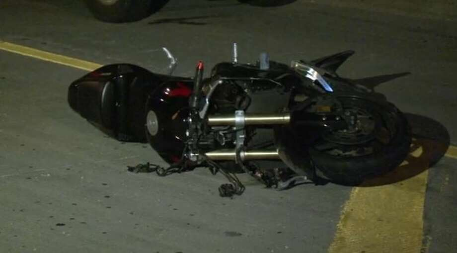 A man was killed when his motorcycle hit a curb and overturned Nov. 10, 2015, on the northbound Interstate 45 frontage road near East Spring Steubner. Photo: Christian, Carol, Via Metro Video