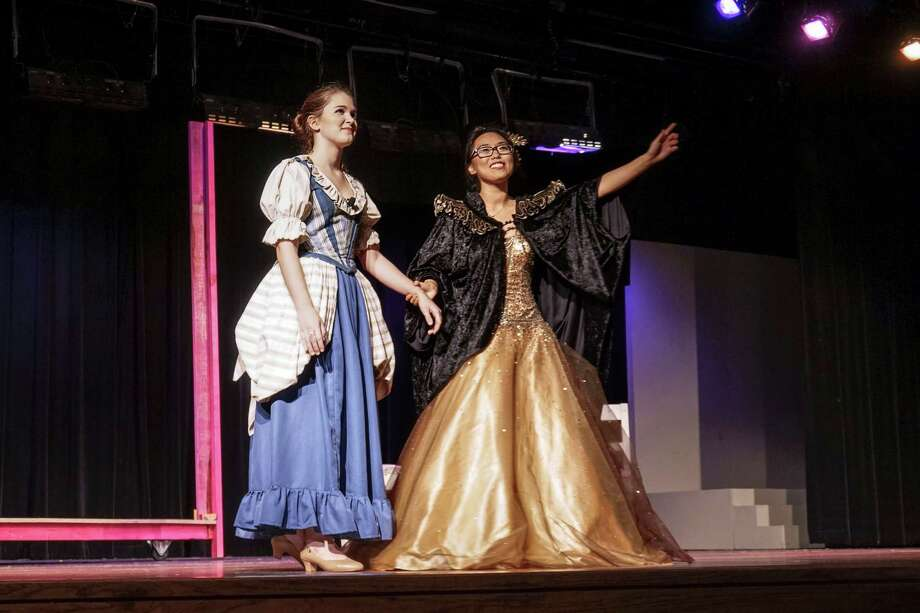 "Kendall Brunner as Cinderella, left, and Jaewon Yoo stars as the Fairy Godmother in the Westchester Academy production of ""Cinderella."" Photo: Lorena Del Toro"