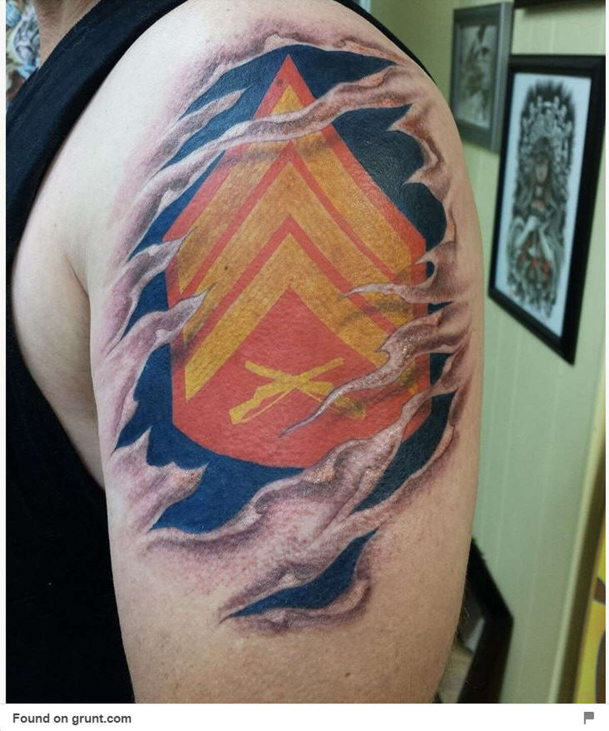 Tattoos tell a story. See some of the military themed tattoos seen on Pinterest. Like this one here.