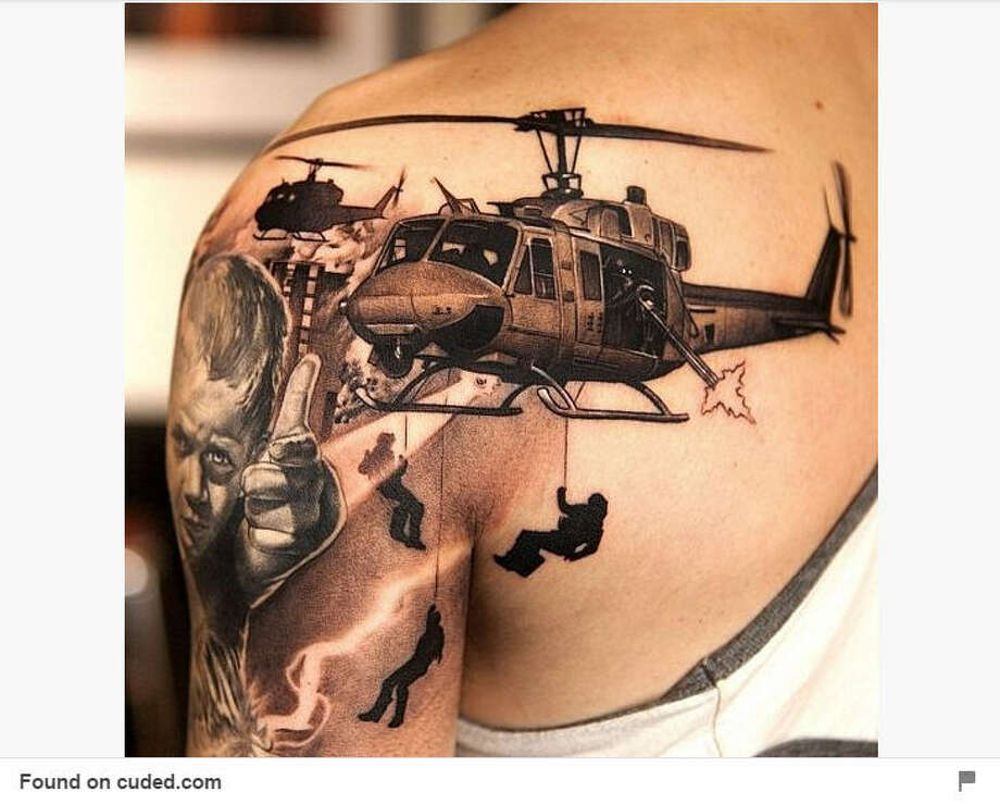 Tattoos tell a story. See some of the military themed tattoos seen on Pinterest. Like this one here. Photo: Pinterest
