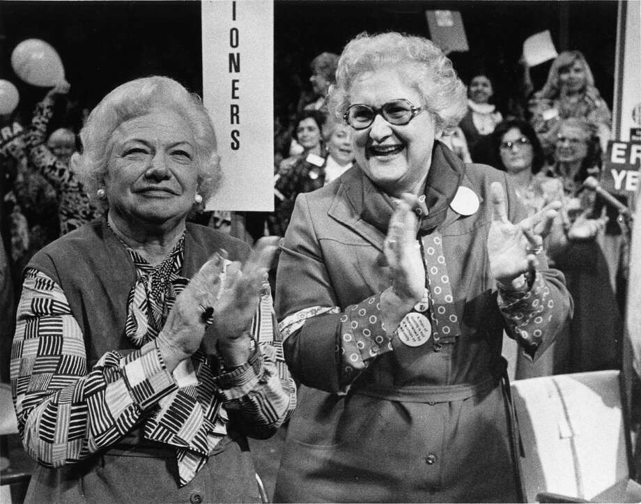 Texas delegates Liz Carpenter and Elly Peterson after the vote on a resolution to push Congress on the ratification of the Equal Rights Amendment at the National Women's Conference in Houston in 1977. Photo: Sam C. Pierson Jr., © Houston Chronicle / Houston Chronicle