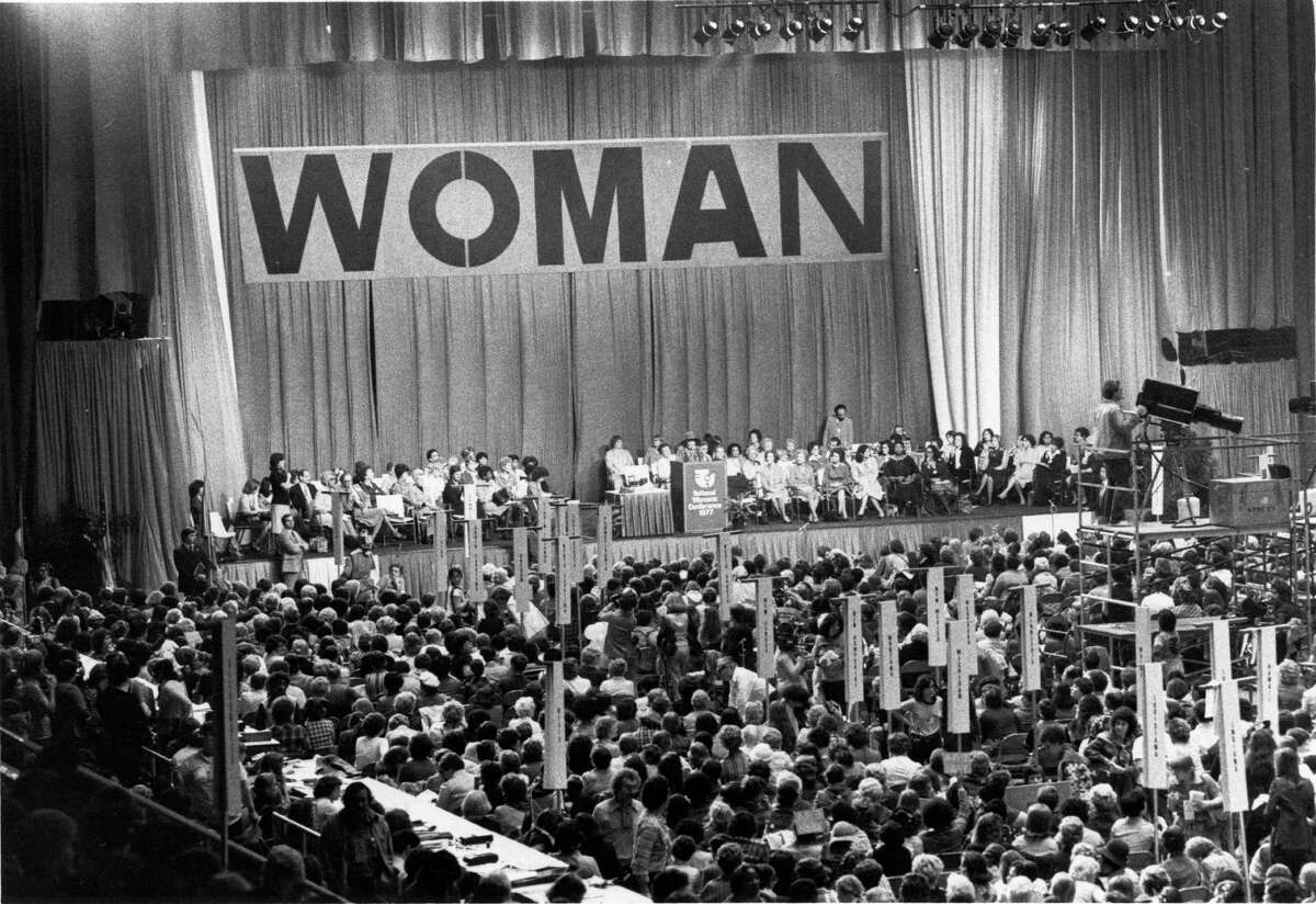 The scene at the National Women's Conference, held in the Sam Houston Coliseum from November 18-21, 1977, in Houston.