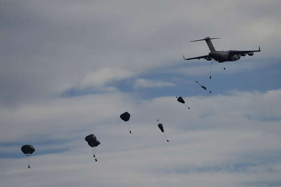 US 82nd Airborne Division jump from a plane during the NATO's Trident Juncture Exercice at San Gregorio training ground near Zaragoza on November 4, 2015 . AFP PHOTO/ PIERRE-PHILIPPE MARCOU        (Photo credit should read PIERRE-PHILIPPE MARCOU/AFP/Getty Images)