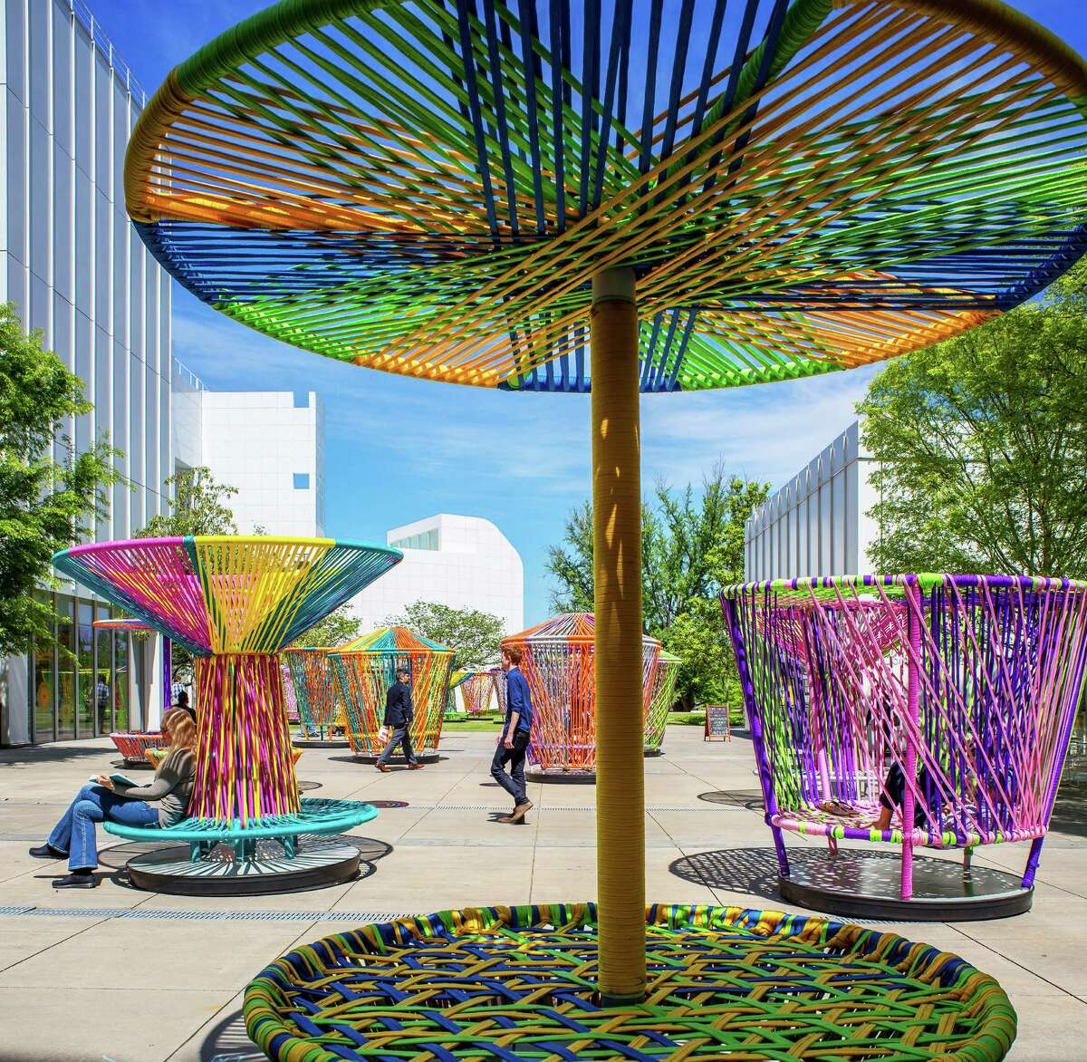 """""""Los Trompos,"""" an exhibit of 20 wildly colorful, interactive sculptures by Mexico City designers Héctor Esrawe and Ignacio Cadena, will invite visitors to play at Discovery Green Nov. 14 through early March. They were previously seen at the High Museum of Art in Atlanta."""
