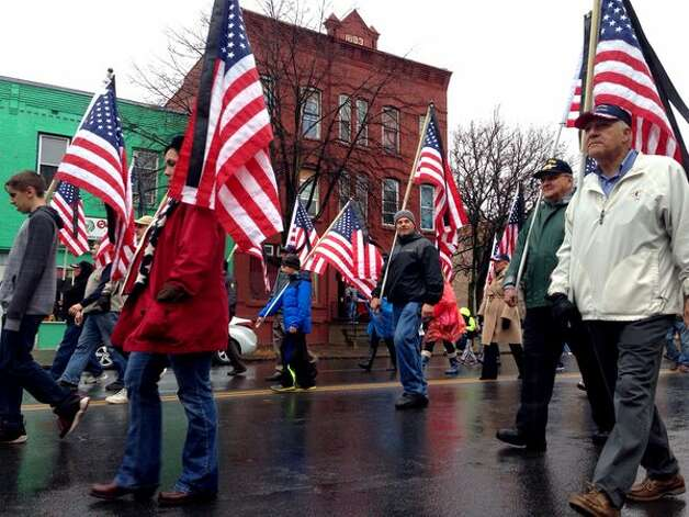 The 64th Annual Albany Veterans Day Parade heads down Central Avenue on Nov. 11, 2015. (Paul Buckowski /Times Union)