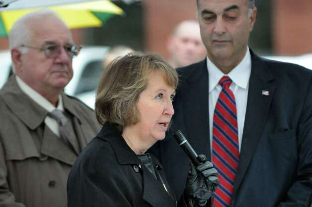 Rensselaer County Executive Kathy Jimino, center, speaks during the dedication of the Pfc. Robert C. Felter Memorial Bridge on Veterans Day on Wednesday, Nov. 11, 2015, in Troy, N.Y. (Cindy Schultz / Times Union) Photo: Cindy Schultz / 00034128A