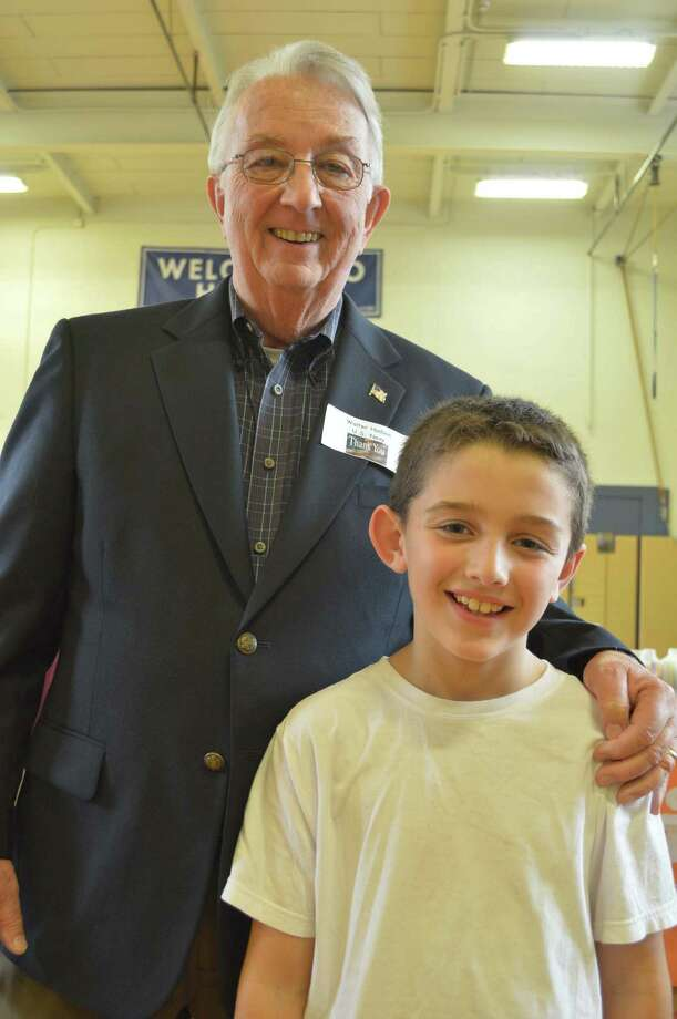 Retired U.S. Navy Yeoman Walter Hudson and his grandson, Jackson Shearn, 9, who attends Hindley Elementary School in Darien. Photo: Contributed / Contributed Photo / Darien News