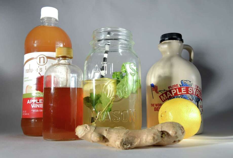 Ingredient to make switchel; a drink made with  water, vinegar, lemon, ginger, mint and maple syrup, Friday, Nov. 6, 2015, at the Times Union in Colonie, N.Y. (Will Waldron/Times Union) Photo: Will Waldron