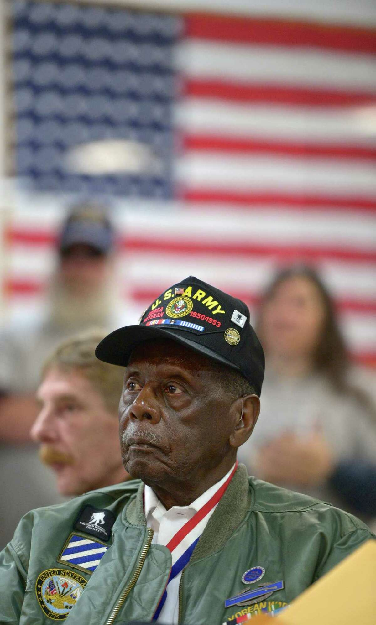 Herman Iczard, of New Milford, listens to a speech during the New Milford Veterans Day Memorial Service held at VFW Post 167211, on Avery Road, in New Milford Wednesday. Iczard served in the Army during the Korean War.