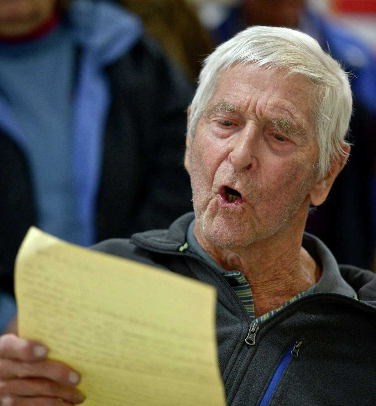 """Francis Hill, 92, of New Milford, sings """"America the Beautiful"""" during the New Milford Veterans Day Memorial Service, which was held at VFW Post 167211, on Avery Road, in New Milford, at 11 a.m. on November 11, 2015."""