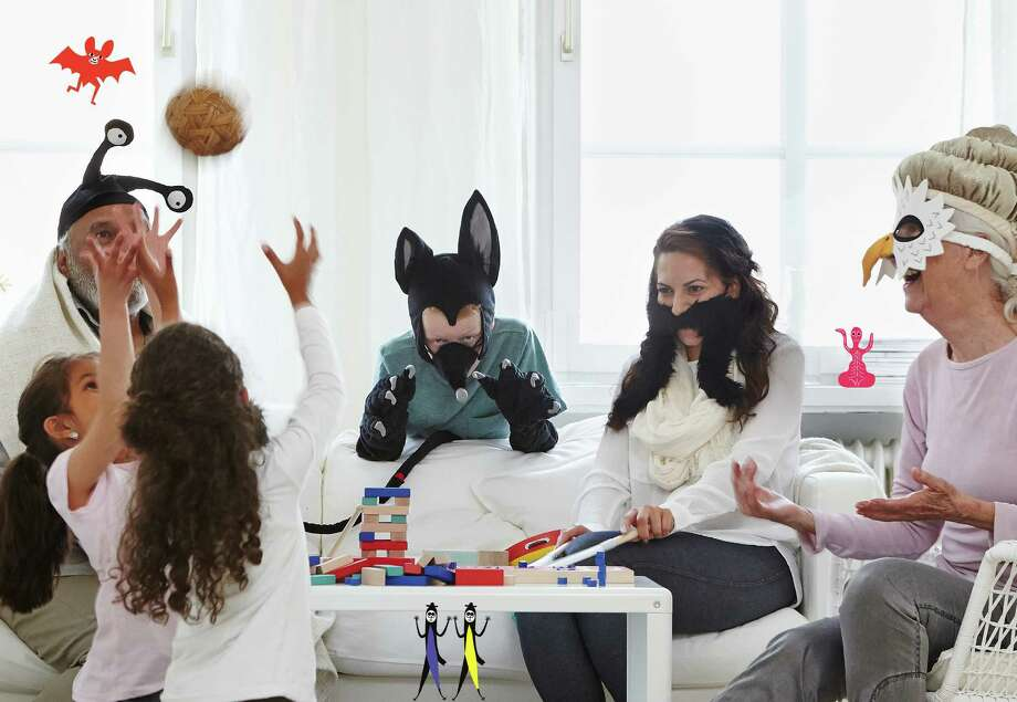 LATTJO role-playing toys include - from left - an insect hat ($6.99), a bat head and paws (each $6.99), a moustache ($1.99) and an eagle mask ($6.99). Photo: IKEA / Copyright: Clive Tompsett Photographer