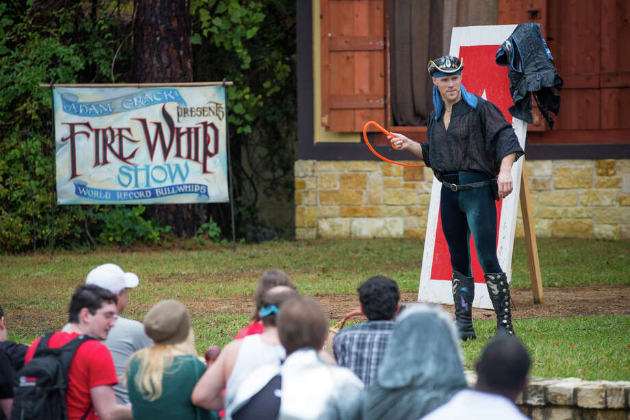 "Visitors to the Texas Renaissance Festival have likely found themselves transfixed by the work of Adam Winrich, who most would know as the ""Fire Whip Guy"" for his exploits with a bullwhip.See photos from Halloween weekend at the Texas Renaissance Festival below ... Photo: Steven David, Texas Renaissance Festival"