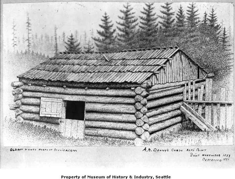 """""""The twelve adults and twelve children of the Denny Party were among Seattle's first white settlers. They landed at Alki Point on November 13, 1851. David Denny had already arrived before the rest of the group and started the new settlement's first cabin. The second cabin was built for Arthur Denny's family. The cabin was forty years old when it was torn down in 1891 . In the late 19th century, an unknown artist made a drawing of Arthur Denny's cabin at Alki Point. Sometime after 1902, a Webster & Stevens photographer made a photo of the drawing."""" -- MOHAI. Photo courtesy MOHAI, PEMCO Webster and Stevens Collection, image number 1983.10.6111. Photo: Courtesy MOHAI"""