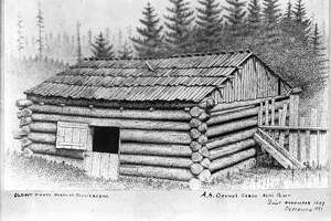 """The twelve adults and twelve children of the Denny Party were among Seattle's first white settlers. They landed at Alki Point on November 13, 1851. David Denny had already arrived before the rest of the group and started the new settlement's first cabin. The second cabin was built for Arthur Denny's family. The cabin was forty years old when it was torn down in 1891 . In the late 19th century, an unknown artist made a drawing of Arthur Denny's cabin at Alki Point. Sometime after 1902, a Webster & Stevens photographer made a photo of the drawing."" -MOHAI. Photo courtesy MOHAI, PEMCO Webster and Stevens Collection, image number 1983.10.6111."