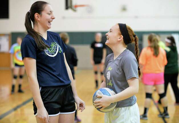 Shenendehowa girls' volleyball team players Nicole Adams, left, and Charlotte Macken during practice Wednesday Nov. 11, 2015 in Clifton Park, NY.  (John Carl D'Annibale / Times Union) Photo: John Carl D'Annibale / 00034185A