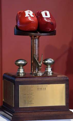 The Dutchman's Shoes trophy was on display during the media luncheon Wednesday afternoon Nov. 11, 2015, to promote the annual Dutchman Shoes football game this Saturday at Union University in Schenectady, N.Y.  (Skip Dickstein/Times Union) Photo: SKIP DICKSTEIN / 00034195A