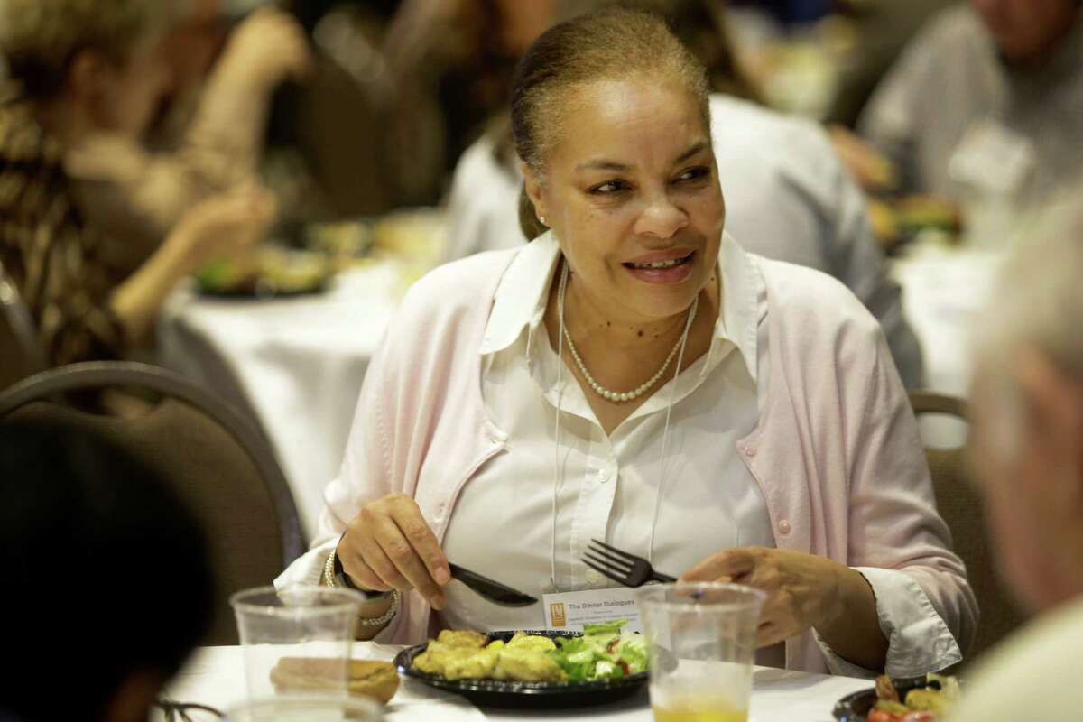 Lizette Cobb is shown during the Dinner Dialogues event held at Interfaith Ministries.