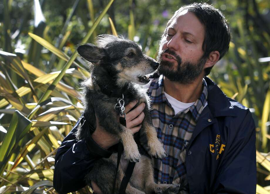 Television producer and Bay Area native Jay Howell visits Union Square with his pooch Street Dog in San Francisco, Calif. on Wednesday, Nov. 11, 2015. Photo: Paul Chinn, The Chronicle