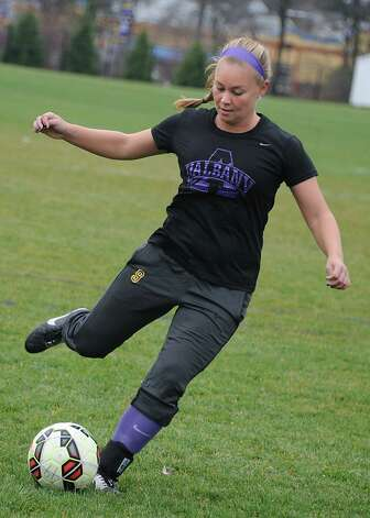 Kelly Kempf handles the ball as the University at Albany women's soccer team prepares for first ever trip to the NCAA Tournament on Wednesday, Nov. 11, 2015 in Albany, N.Y.  (Lori Van Buren / Times Union) Photo: Lori Van Buren / 00034170A