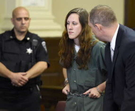 Abby Slaga is arraigned on murder charges in Rensselaer County Court on Thursday, July 2, 2015, in Troy, N.Y. (Skip Dickstein/Times Union)
