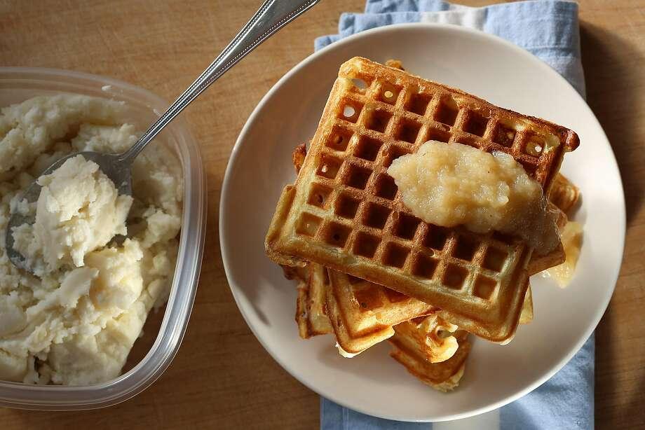 Mashed potato waffles from Thanksgiving leftovers in San Francisco, California, on Tuesday, November 10, 2015. Photo: Liz Hafalia, The Chronicle