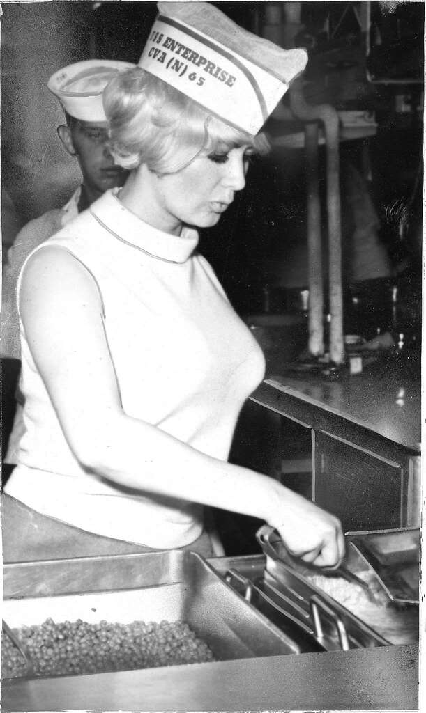 Carol Doda helping out on the U.S.S. Enterprise in 1967. Photo: Bill Young, The Chronicle