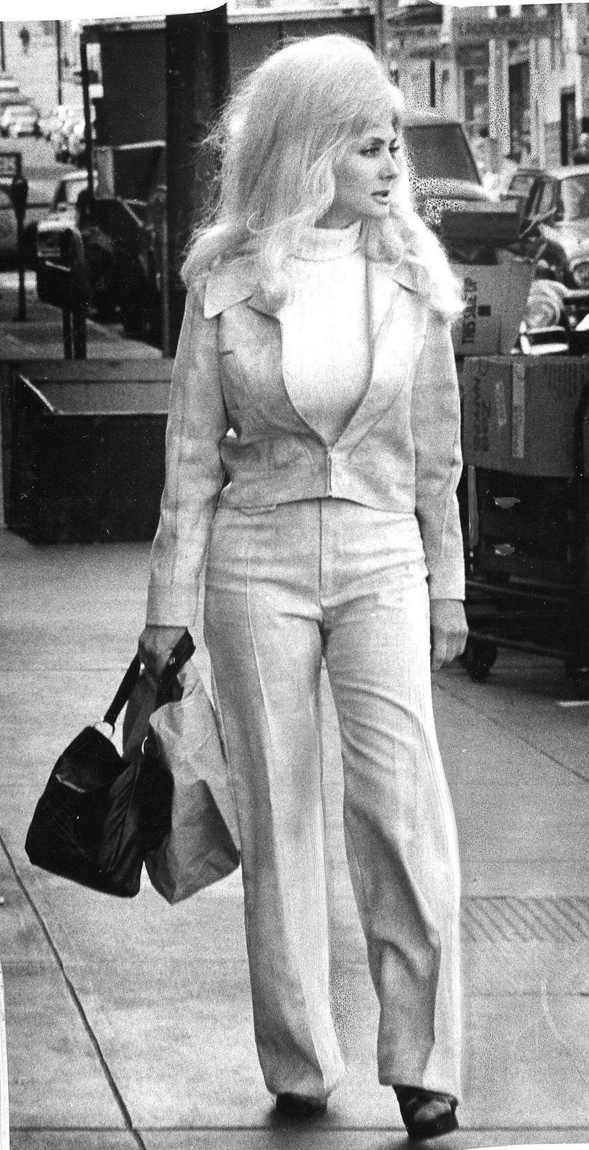 Carol Doda doing some shopping in 1975.