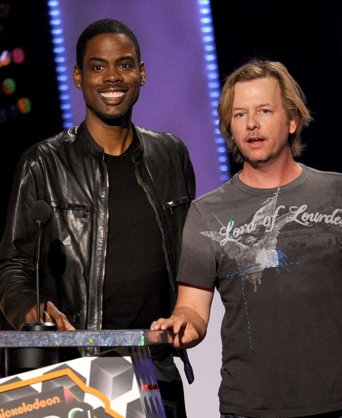 LOS ANGELES, CA - MARCH 27: Actor/comedians Chris Rock (L) and David Spade speak onstage at Nickelodeon's 23rd Annual Kids' Choice Awards held at UCLA's Pauley Pavilion on March 27, 2010 in Los Angeles, California. (Photo by Kevin Winter/Getty Images for KCA) *** Local Caption *** Chris Rock;David Spade