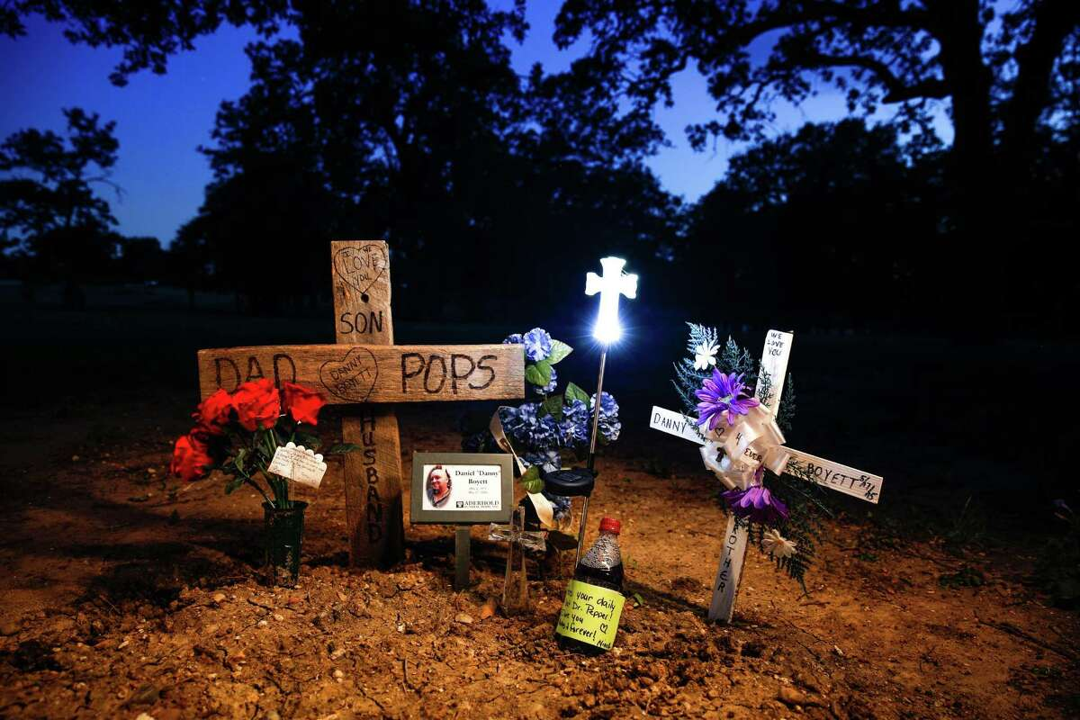 Danny Boyett, a member of the Cossacks Motorcycle Club, is buried in the West Brethren Church Cemetery, off FM 1858 in the town of West, Texas (vicinity of Four Corners road.) Danny was shot in the back of the head, according to a medical examiner. His widow, Nina, wants to know who killed him and why. She said it is time for authorities to share what they know, so that she can have closure.