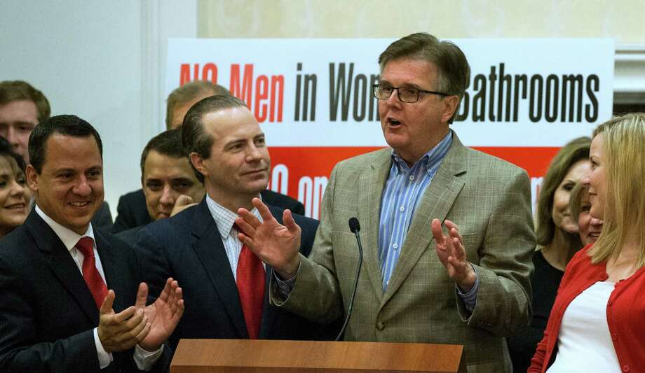Lt. Gov. Dan Patrick speaks to opponents of Proposition #1, or HERO, after it was voted down on Tuesday, Nov. 3, 2015, in Houston. ( Brett Coomer / Houston Chronicle ) Photo: Brett Coomer, Staff / © 2015 Houston Chronicle