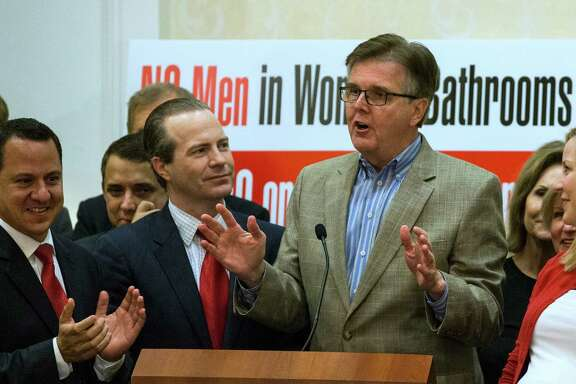 Lt. Gov. Dan Patrick speaks to opponents of Proposition #1, or HERO, after it was voted down on Tuesday, Nov. 3, 2015, in Houston. ( Brett Coomer / Houston Chronicle )