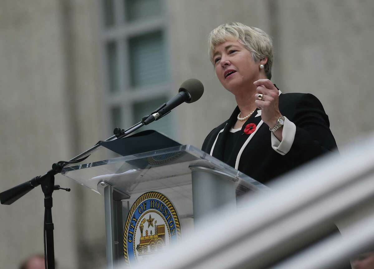 Houston Mayor Annise Parker addresses attendees of the city's Veteran's Day event. Photos of Houston's Veteran's Day Parade on Wednesday, Nov. 11, 2015, in Houston.