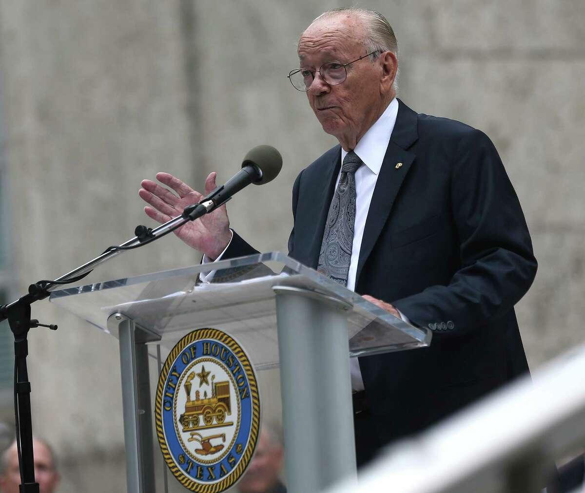WWII veteran Bill Sherrill gives the keynote speech during Houston's Veteran's Day event downtown. Photos of Houston's Veteran's Day Parade on Wednesday, Nov. 11, 2015, in Houston.