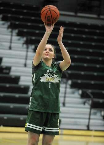 Siena sophomore forward Margot Hetzke, #11, takes a shot during practice with the team on Wednesday, Nov. 11, 2015 in Loudonville, N.Y. (Lori Van Buren / Times Union) Photo: Lori Van Buren / 00034194A