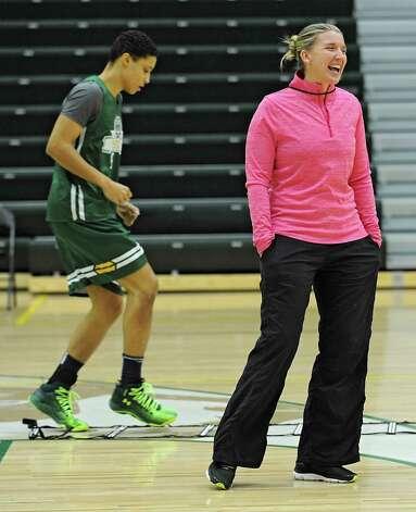 Siena women's basketball coach Ali Jaques laughs during practice on Wednesday, Nov. 11, 2015 in Loudonville, N.Y.  (Lori Van Buren / Times Union) Photo: Lori Van Buren / 00034194A