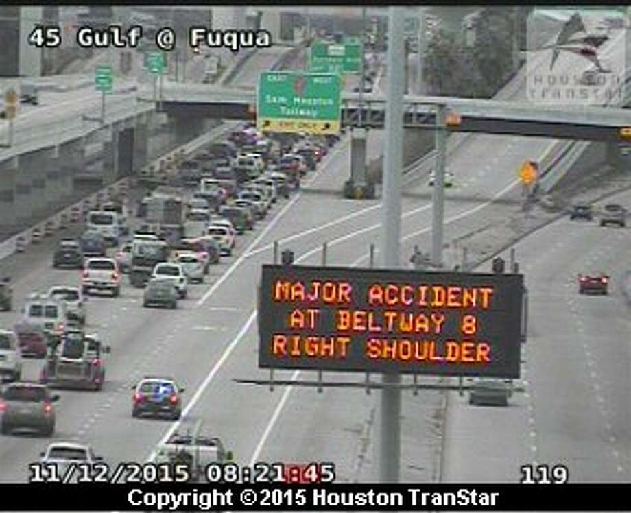 A fatal motorcycle accident on the Fuqua entrance ramp to southbound Interstate 45 caused morning traffic delays, Nov. 12, 2015. (Houston TranStar)