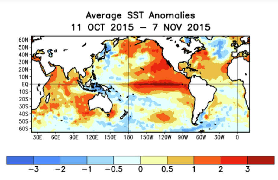 During the last four weeks seasonal ocean temperatures were above average across the central and eastern Pacific Ocean. Photo: NOAA