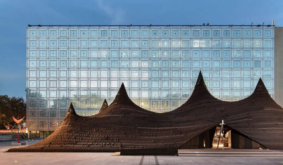 Work by Oualalou + Choi: Flij, a temporary tent in the plaza of the Institut du Monde Arabe, 2014. Photo: Courtesy Oualalou + Choi / Photographie Luc Boegly - 2014