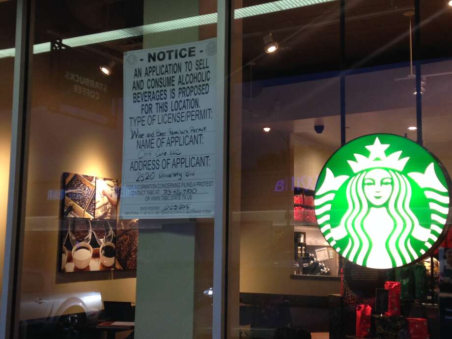 A notice of Starbucks' application to sell and consume alcohol at the University Boulevard location in Rice Village is posted on the location's store front. Click the slideshow for ways to save money at Starbucks.