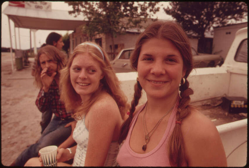 Group of Teenagers in the Town of Leakey, Texas, near San Antonio, 05/1973