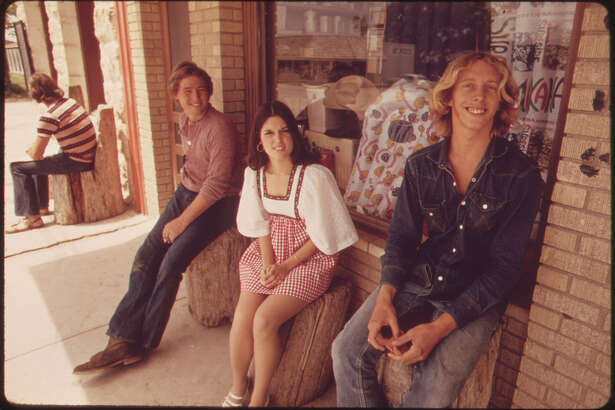 Miss Junior Texas Shown with Friends in Leakey, Texas, Her Home Town, near San Antonio, 05/1973