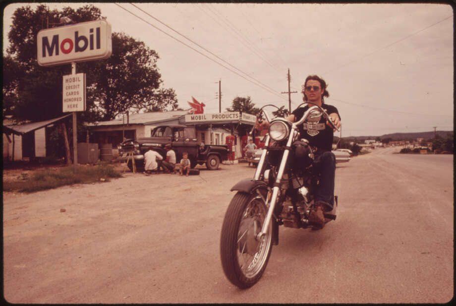 Motorcyclist in Leakey, Texas, near San Antonio, 05/1973 Photo: NARA, Marc St. Gil/ U.S. National Archives