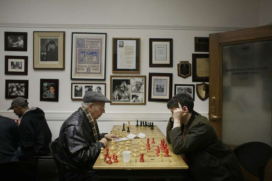 Richard Hack (l to r) and David Rakonitz go over Hack's game against Ethan Vaugh Boldi (not shown) in the Chess Club Annex after Hack played his game  on Tuesday, November 3,  2015 in San Francisco, Calif. Photo: Lea Suzuki, The Chronicle