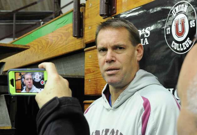 Rick Bennett, Union College's men's hockey coach answers questions about the tree members of the team that have been suspended for the start of the season on Tuesday Oct. 7, 2014 in Schenectady, N.Y.  (Michael P. Farrell/Times Union) Photo: Michael P. Farrell / 10028925A