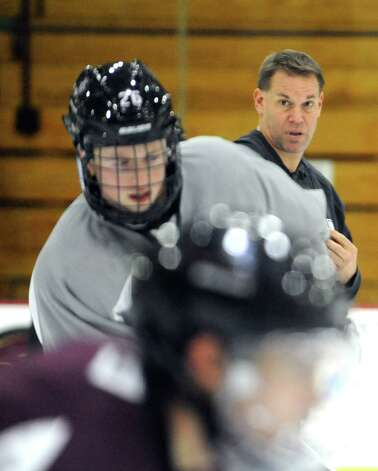 Union College's men's hockey coach Rick Bennett watches over his teams practice on Wednesday Oct. 8, 2014 in Schenectady, N.Y.  (Michael P. Farrell/Times Union) Photo: Michael P. Farrell / 10028926A