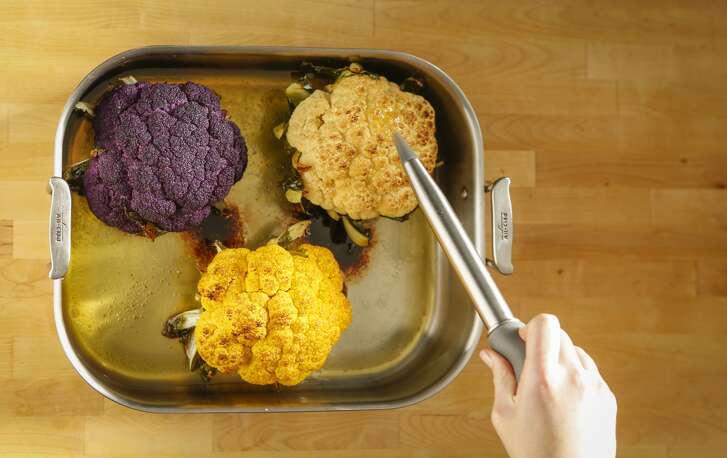 Go ahead and baste the roasted cauliflower.